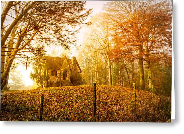 Ghostly Greeting Cards - Autumn Cottage Greeting Card by Debra and Dave Vanderlaan