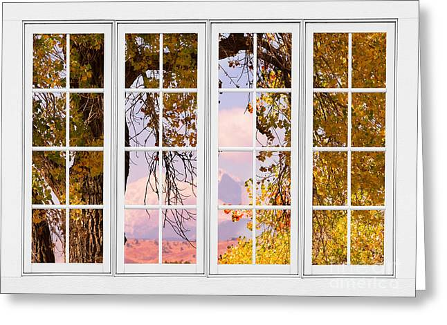 Room With A View Greeting Cards - Autumn Cottonwood Tree Longs Peak White Window View Greeting Card by James BO  Insogna