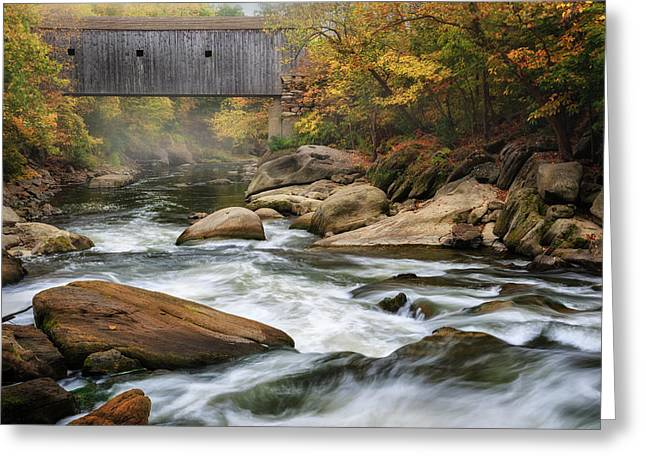 Connecticut Covered Bridge Greeting Cards - Autumn Covered Bridge Greeting Card by Bill  Wakeley