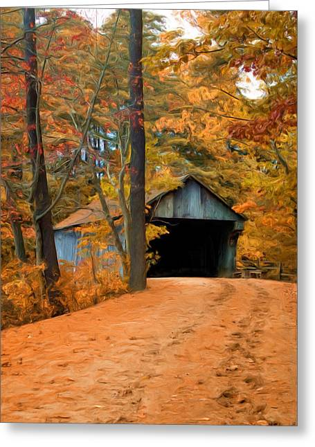 New England Village Greeting Cards - Autumn Covered Bridge Greeting Card by Joann Vitali