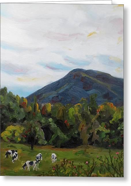 Pastureland Paintings Greeting Cards - Autumn Cows Greeting Card by Jaymi Krystowiak