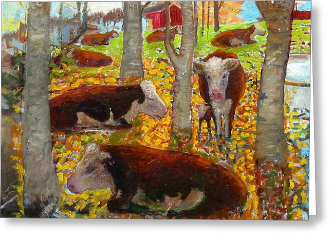 Vermont Rooster Greeting Cards - Autumn Cows Greeting Card by Paul Emory