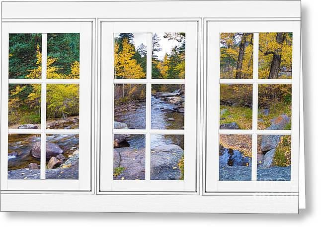 Office Space Greeting Cards - Autumn Creek White Picture Window Frame View Greeting Card by James BO  Insogna