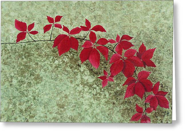 Botanical Tapestries - Textiles Greeting Cards - Autumn Creeper Greeting Card by Leanne Holt