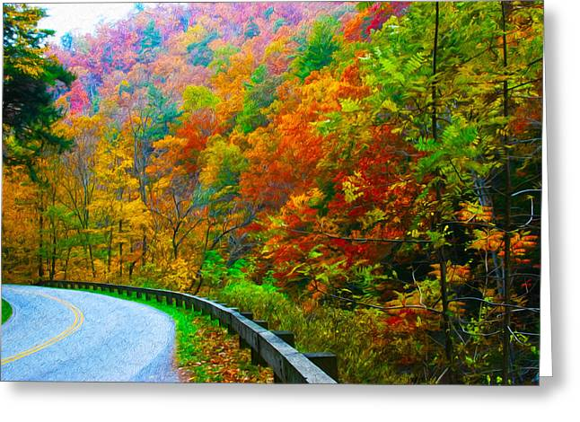 Best Sellers -  - Gatlinburg Tennessee Greeting Cards - Autumn Curve Greeting Card by  Vince Maggio