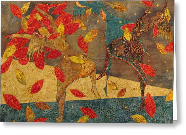 People Tapestries - Textiles Greeting Cards - Autumn Dance Greeting Card by Lynda K Boardman