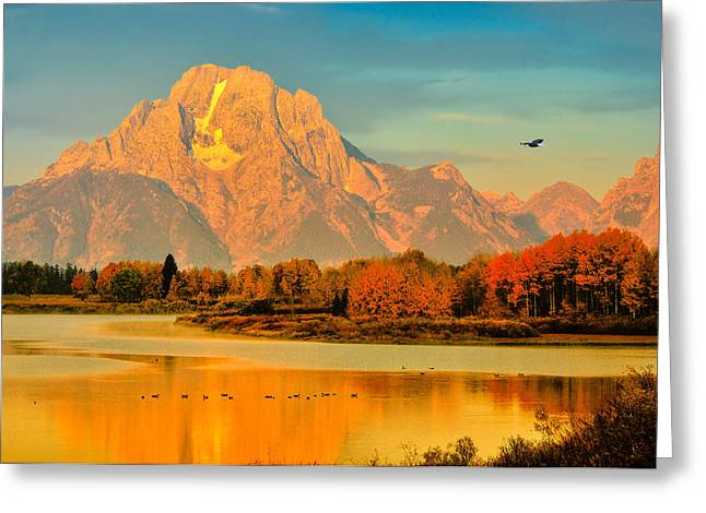 Grand Teton National Park Greeting Cards - Autumn Dawn at Oxbow Bend Greeting Card by Greg Norrell