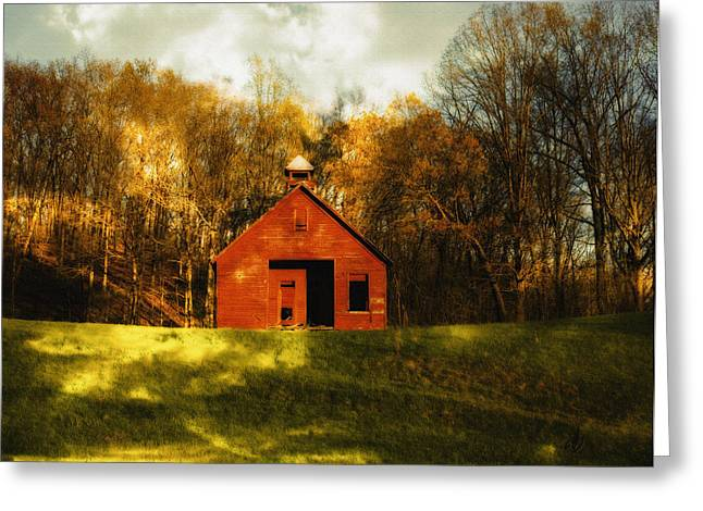Red School House Greeting Cards - Autumn Day on School House Hill Greeting Card by Denise Beverly