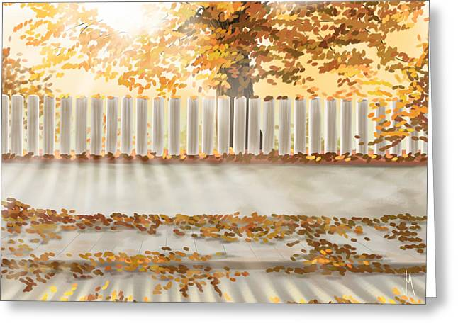 Autumn Decorations Greeting Cards - Autumn day Greeting Card by Veronica Minozzi