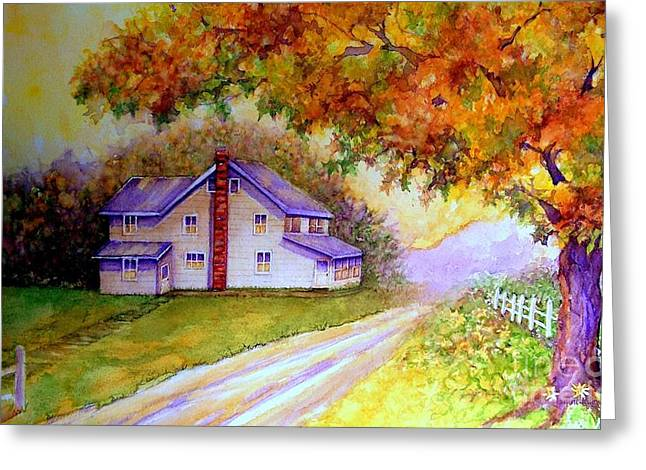 Old Country Roads Paintings Greeting Cards - Autumn days down the lane Greeting Card by Janine Riley