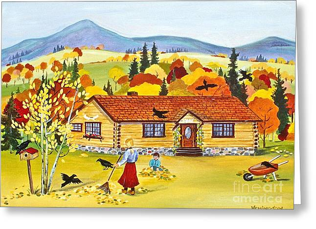 Canmore Artist Greeting Cards - Autumn Days Greeting Card by Virginia Ann Hemingson