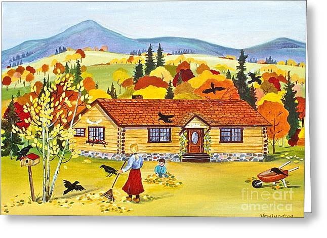 Autumn Days Greeting Card by Virginia Ann Hemingson