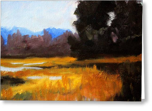 Wa Paintings Greeting Cards - Autumn Delta Greeting Card by Nancy Merkle