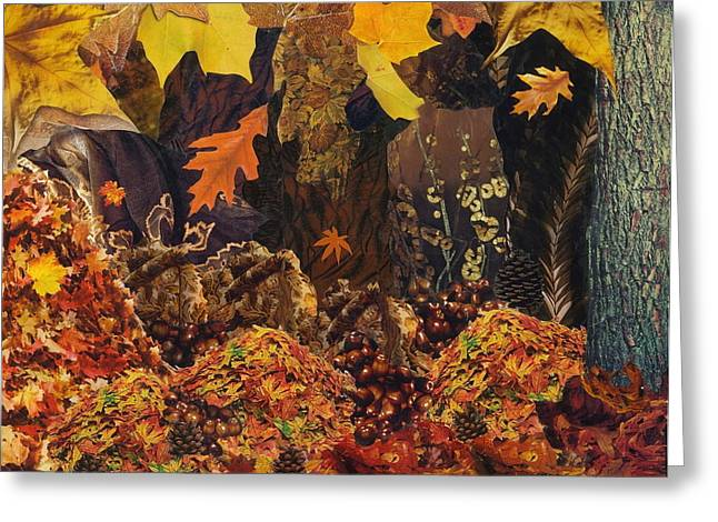 Fallen Leaf Mixed Media Greeting Cards - Autumn Greeting Card by Denise Mazzocco