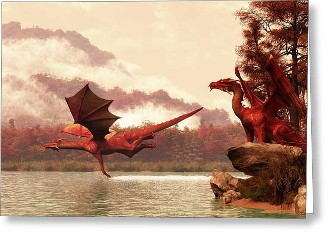 Autumn Dragons Greeting Card by Daniel Eskridge