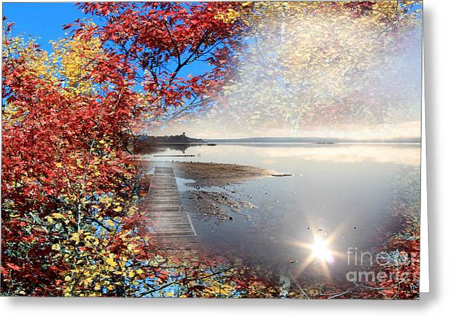 Reflection In Water Greeting Cards - Autumn Dreaming Greeting Card by Cathy  Beharriell