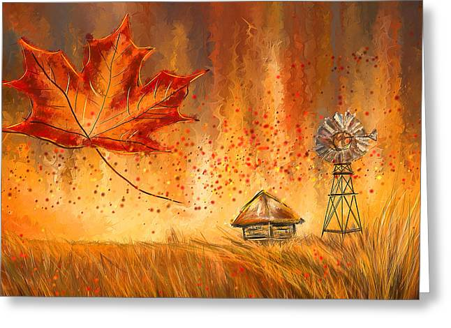 Turquoise And Red Greeting Cards - Autumn Dreams- Autumn Impressionism Paintings Greeting Card by Lourry Legarde