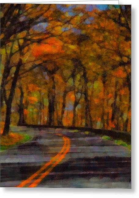 Driving Mixed Media Greeting Cards - Autumn Drive Freedom And Beauty Greeting Card by Dan Sproul