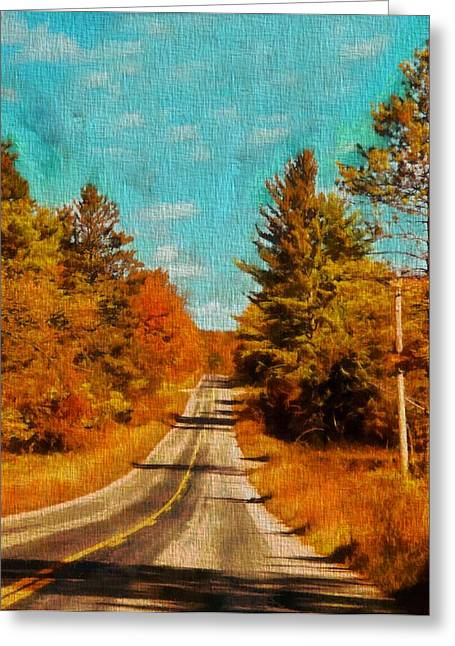 Fall Trees Mixed Media Greeting Cards - Autumn Drive In Michigan Greeting Card by Dan Sproul