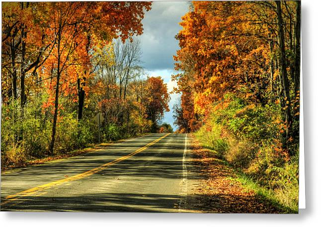 Syracuse Orange Greeting Cards - Autumn Drive Greeting Card by Janet Lee