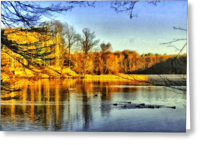 Camille Pissarro Digital Greeting Cards - Autumn Ducks Greeting Card by Marina Kaehne