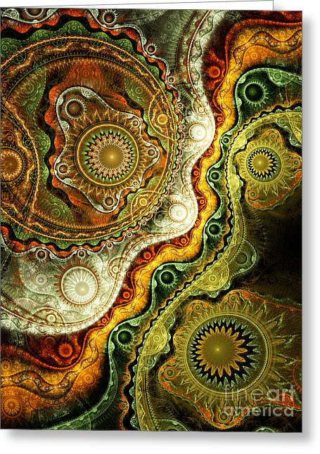 Lacy Fractal Greeting Cards - Autumn Greeting Card by Eli Vokounova