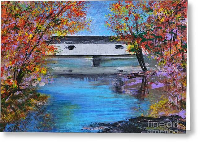 Indiana Autumn Paintings Greeting Cards - Autumn Evening Greeting Card by Alys Caviness-Gober
