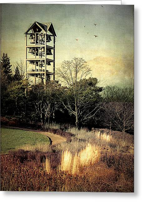 Fall Grass Greeting Cards - Autumn Evening Bells Ringing Greeting Card by Julie Palencia