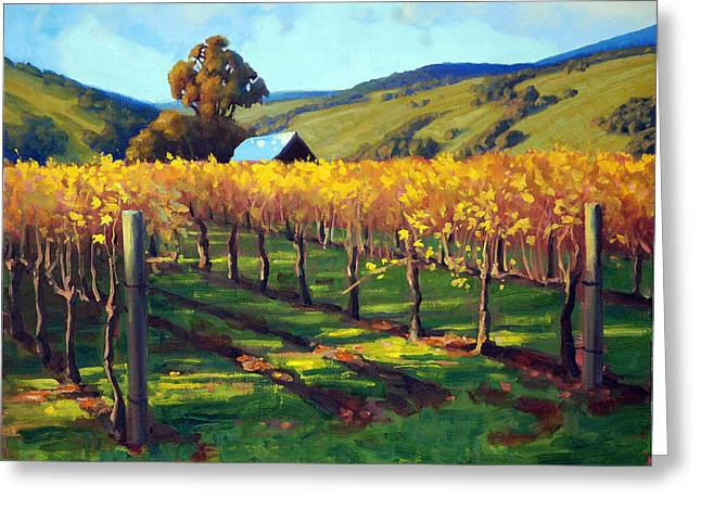 Napa Valley Vineyard Greeting Cards - Autumn Evening Napa Greeting Card by Armand Cabrera