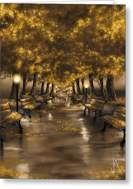 Brown Leaves Greeting Cards - Autumn evening Greeting Card by Veronica Minozzi