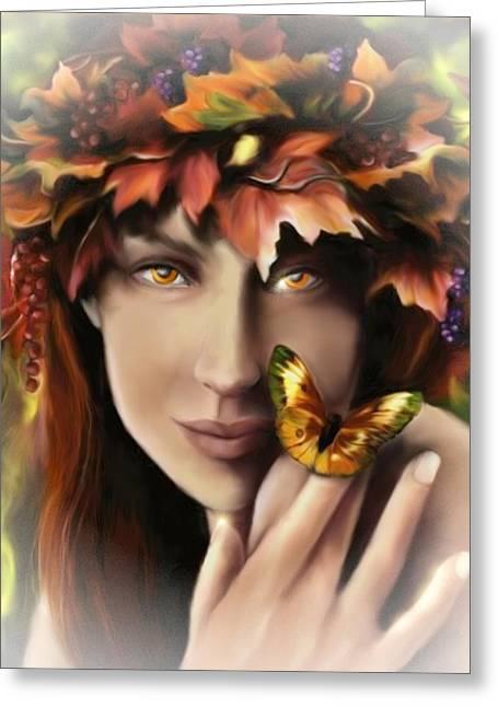 Pamela Phelps Greeting Cards - Autumn Eyes Greeting Card by Pamela Phelps