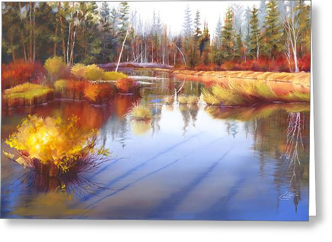 Pat Cross Greeting Cards - Autumn Fall River II Greeting Card by Pat Cross