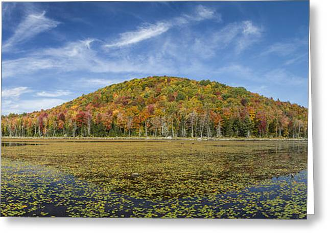 Consumer Greeting Cards - Serene Pond Vermont Autumn Panorama Greeting Card by Andy Gimino