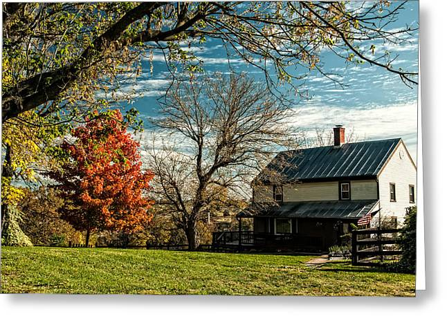 Autumn Farm House Greeting Card by Lara Ellis