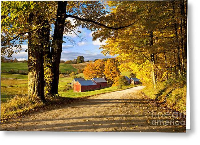 New England Foliage Greeting Cards - Autumn Farm in Vermont Greeting Card by Brian Jannsen
