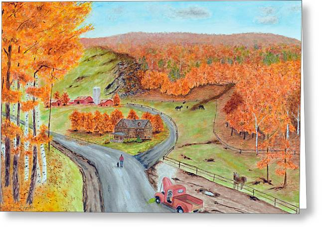 Salmon Paintings Greeting Cards - Autumn farm Greeting Card by Ken Figurski