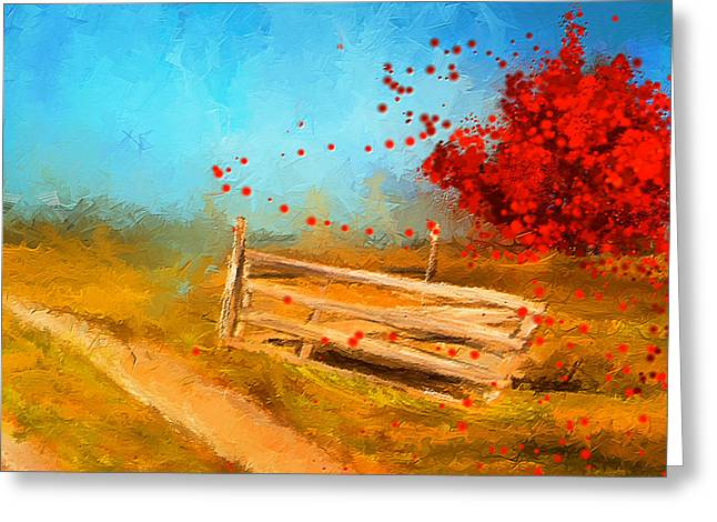 Watson Greeting Cards - Autumn Farm- Autumn Impressionism Oil Palette Knife Painting Greeting Card by Lourry Legarde