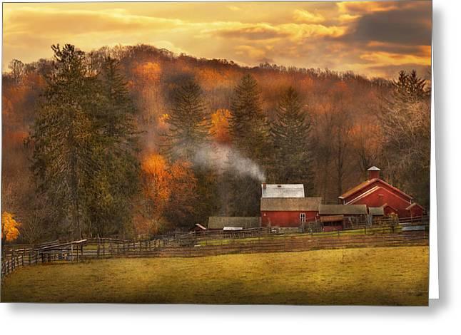 Farmers Field Greeting Cards - Autumn - Farm - Morristown NJ - Charming farming Greeting Card by Mike Savad
