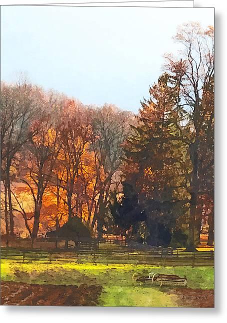 Autumn Farm With Harrow Greeting Card by Susan Savad