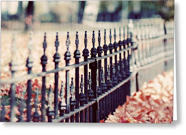 Autumn Fence Photograph Greeting Card by Elle Moss