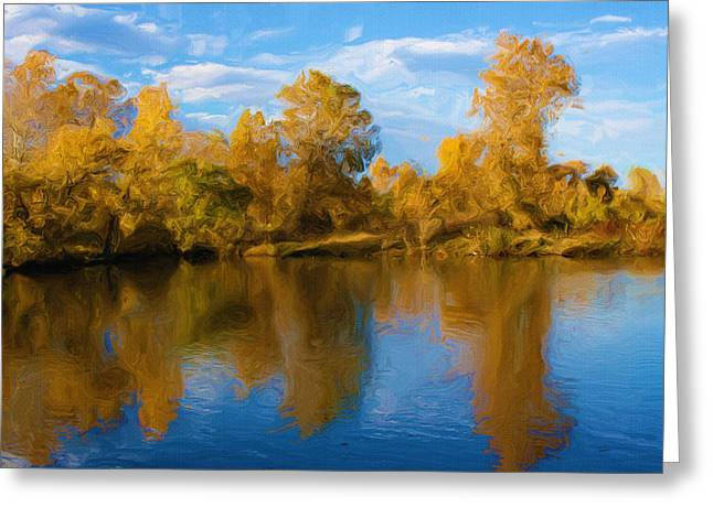 River View Digital Art Greeting Cards - Autumn Fever Greeting Card by Ayse Deniz