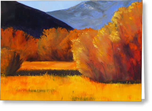 Western States Greeting Cards - Autumn Field Greeting Card by Nancy Merkle