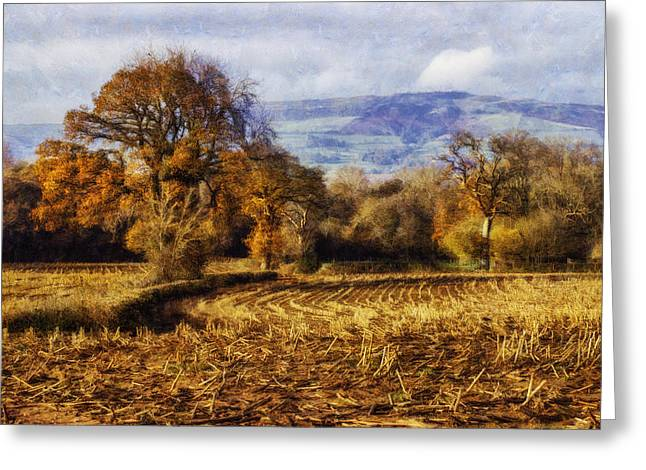 Harvest Art Digital Art Greeting Cards - Autumn Fields Greeting Card by Ian Mitchell