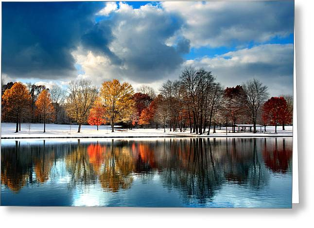 Colorful Reflections Greeting Cards - Autumn Finale Greeting Card by Rob Blair