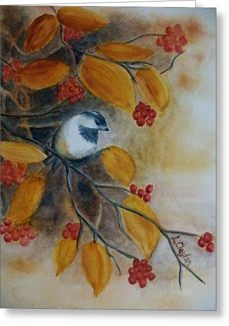 Burnt Umber Greeting Cards - Autumn Finch Greeting Card by Lynette Clayton