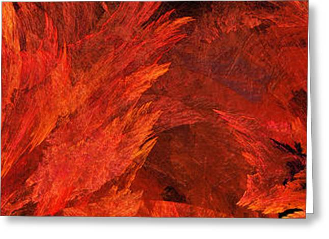 Recently Sold -  - Geometric Design Greeting Cards - Autumn Fire Abstract Pano 2 Greeting Card by Andee Design