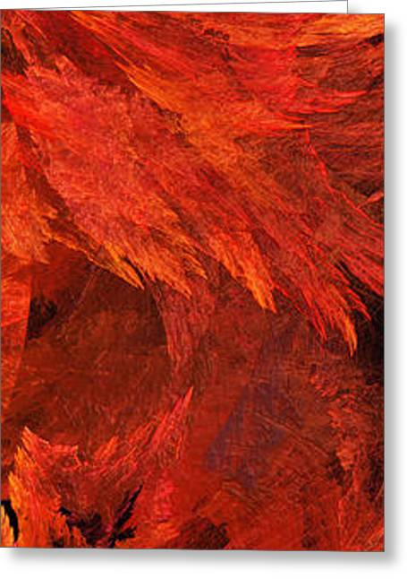 Geometric Digital Art Greeting Cards - Autumn Fire Pano 2 Vertical Greeting Card by Andee Design