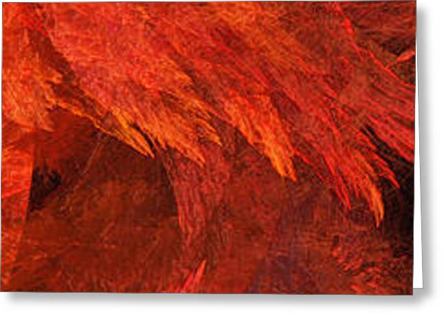 Autumn Fire Pano 2 Vertical Greeting Card by Andee Design