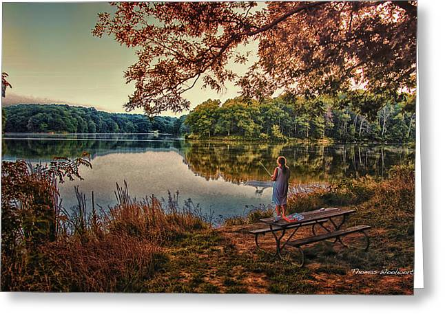 Argyle Digital Greeting Cards - Autumn Fishing At Argyle Lake Greeting Card by Thomas Woolworth