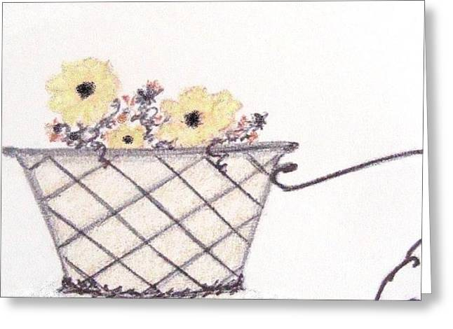 Basket Pastels Greeting Cards - Autumn Flower Basket Greeting Card by Christine Corretti